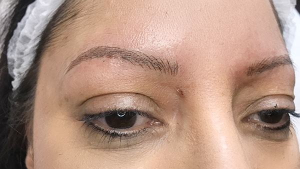 Picture of eyebrows after applying artificial eyebrows