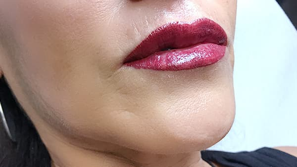 Sample image of lips after applying lipstick